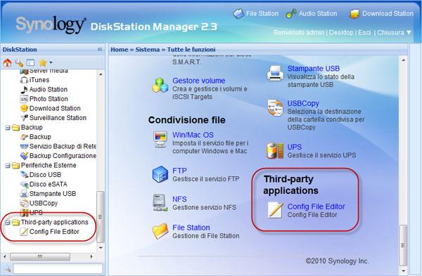 Applicazioni di terze parti in DSM 2.3