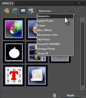 Selezionare Elements+ dalla tab Effects