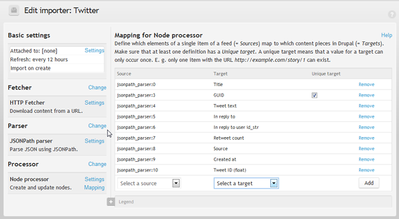 Feed importer, mapping content field