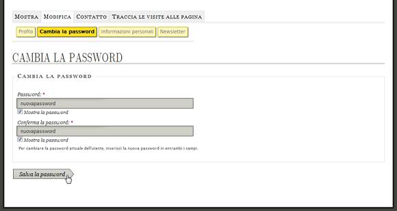 La pagine del profilo utente con la scheda di modifica della password
