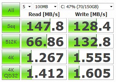 CrystalDiskMark 3.0.1 WD1002FAEX-00Y9A0 100MB Windows Vista disk cache, Adv Off