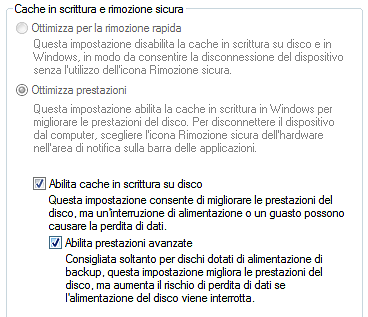 Windows Vista disk cache setting - Advanced Performance is activated
