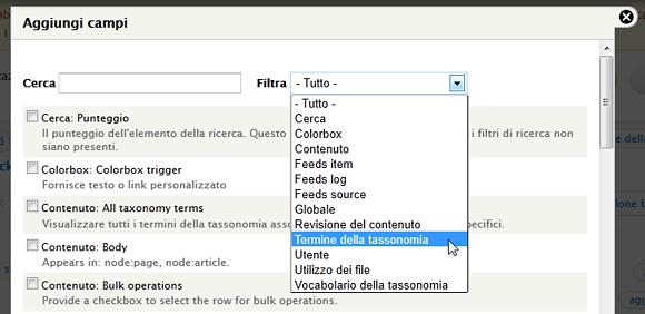 Drupal 7: Ora posso selezionare il termine della tassonomia nei filtri