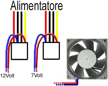 Schema di collegamento della ventola da 7 o 12 volt